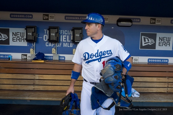 A.J. Ellis prior to game vs the Pittsburgh Pirates Saturday, September 19, 2015 at Dodger Stadium in Los Angeles,California. Photo by Jon SooHoo/© Los Angeles  Dodgers,LLC 2015
