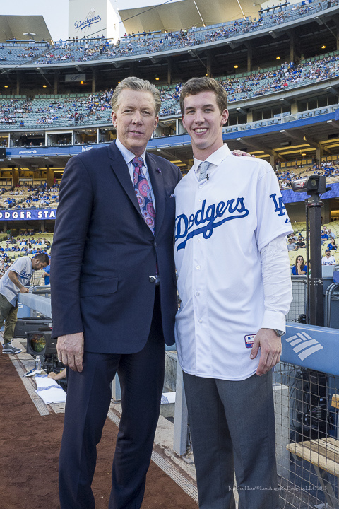Dodgers first round draft pick Walker Buehler poses with Orel Hershiser --Los Angeles Dodgers vs Pittsburgh Pirates Saturday, September 19, 2015 at Dodger Stadium in Los Angeles,California. Photo by Jon SooHoo/© Los Angeles  Dodgers,LLC 2015