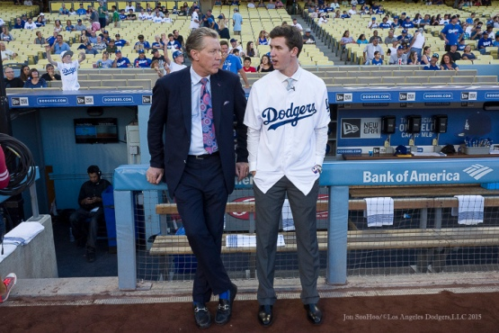 Dodgers first round draft pick Walker Buehler speaks with Orel Hershiser --Los Angeles Dodgers vs Pittsburgh Pirates Saturday, September 19, 2015 at Dodger Stadium in Los Angeles,California. Photo by Jon SooHoo/© Los Angeles  Dodgers,LLC 2015