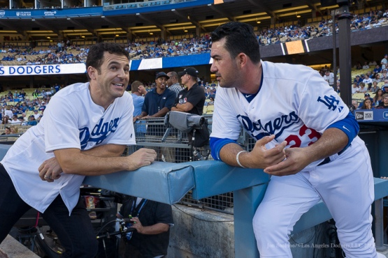 Actor Fred Savage and Los Angeles Dodger Adrian Gonzalez prior to game vs Pittsburgh Pirates Saturday, September 19, 2015 at Dodger Stadium in Los Angeles,California. Photo by Jon SooHoo/© Los Angeles  Dodgers,LLC 2015