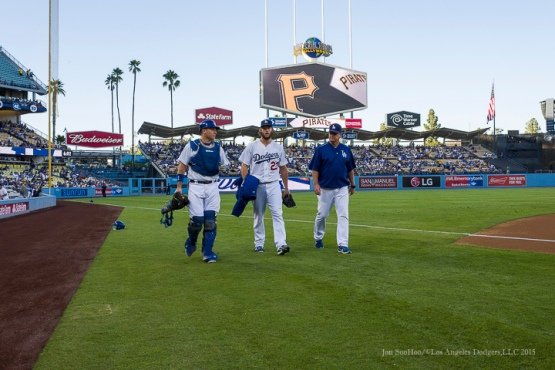 A.J. Ellis, Clayton Kershaw and Rick Honeycutt---Los Angeles Dodgers vs Pittsburgh Pirates Saturday, September 19, 2015 at Dodger Stadium in Los Angeles,California. Photo by Jon SooHoo/© Los Angeles  Dodgers,LLC 2015