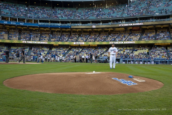 Los Angeles Dodgers Clayton Kershaw takes the mound prior to start vs Pittsburgh Pirates Saturday, September 19, 2015 at Dodger Stadium in Los Angeles,California. Photo by Jon SooHoo/© Los Angeles  Dodgers,LLC 2015