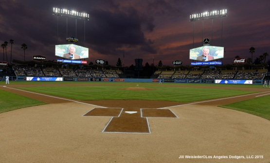 Vin Scully addresses the fans over a beautiful sunset at Dodger Stadium. Jill Weisleder/LA Dodgers