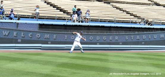 Clayton Kershaw warms up prior to the start of the game. Jill Weisleder/LA Dodgers