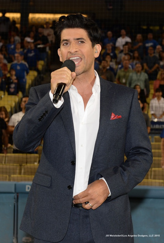 Raza Jaffrey from the TV show Code Black performed the national anthem. Jill Weisleder/LA Dodgers
