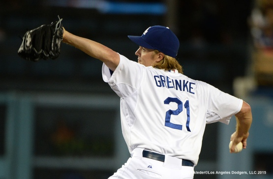 Zack Greinke throws on the mound against the Pittsburgh Pirates. Jill Weisleder/LA Dodgers
