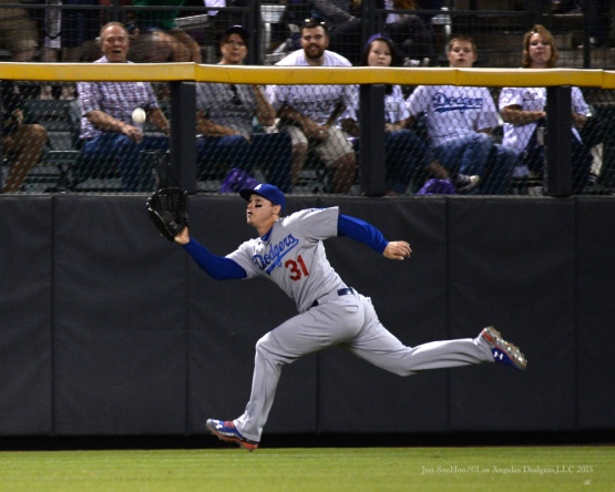 Joc Pederson runs down fly ball--Los Angeles Dodgers vs Colorado Rockies Saturday, September 26, 2015 at Coors Field in Denver,Colorado. The Rockies beat the Dodgers 8-6. Photo by Jon SooHoo /©Los Angeles Dodgers,LLC 2015
