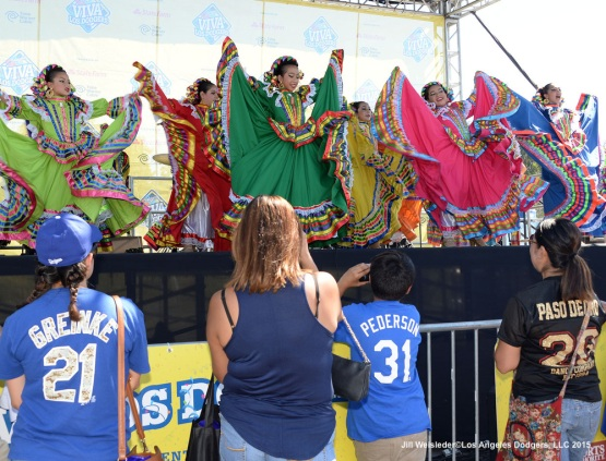 Dodger fans enjoy traditional Mexican folk dancing during Viva Los Dodgers. Jill Weisleder/LA Dodgers