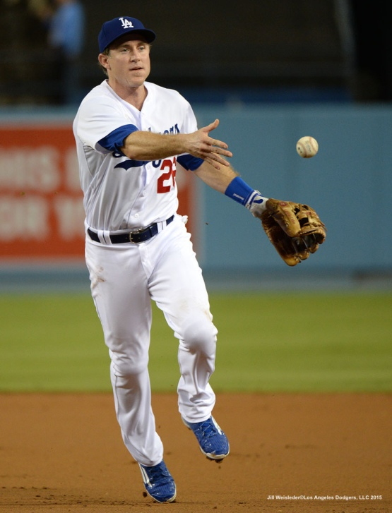 Chase Utley makes a play to first. Jill Weisleder/LA Dodgers