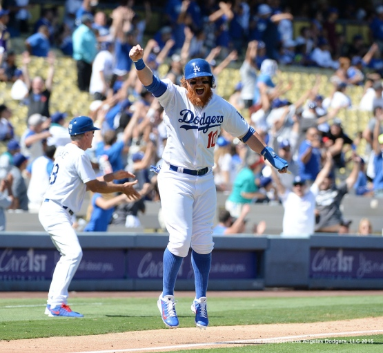 Justin Turner reacts after Chris Heisey's grand slam.  Jill Weisleder/LA Dodgers