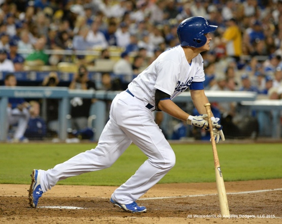 Corey Seager blasts a homerun in the 4th inning. Jill Weisleder/LA Dodgers