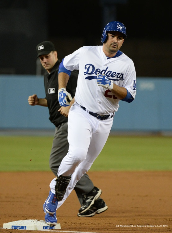 Adrian Gonzalez rounds third base after getting a home run in the first inning. Jill Weisleder/LA Dodgers