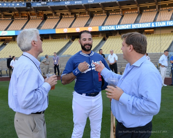Mark Walter, Andre Ethier, Todd Boehly--NLDS-Game One-Los Angeles Dodgers vs New York Mets Friday, October 9, 2015 at Dodger Stadium in Los Angeles, California.  Photo by Jon SooHoo /©Los Angeles Dodgers,LLC 2015
