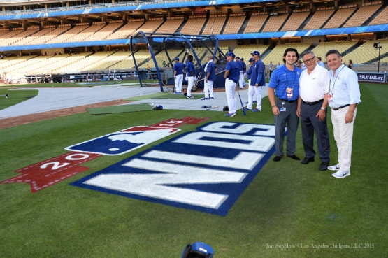 Stefan Jarrin, Jaime Jarrin, Jorge Jarrin--NLDS-Game One-Los Angeles Dodgers vs New York Mets Friday, October 9, 2015 at Dodger Stadium in Los Angeles, California.  Photo by Jon SooHoo /©Los Angeles Dodgers,LLC 2015