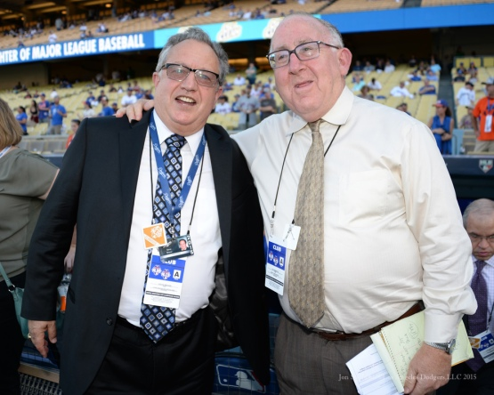 Longtime PR Steve Brener and Jay Horowitz--NLDS-Game One-Los Angeles Dodgers vs New York Mets Friday, October 9, 2015 at Dodger Stadium in Los Angeles, California.  Photo by Jon SooHoo /©Los Angeles Dodgers,LLC 2015