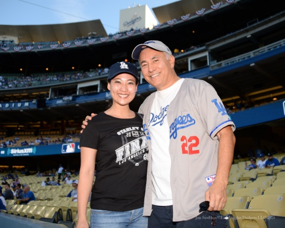 Great Dodger fans--NLDS-Game One-Los Angeles Dodgers vs New York Mets Friday, October 9, 2015 at Dodger Stadium in Los Angeles, California.  Photo by Jon SooHoo /©Los Angeles Dodgers,LLC 2015