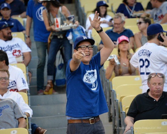 Great Dodger fan--NLDS-Game One-Los Angeles Dodgers vs New York Mets Friday, October 9, 2015 at Dodger Stadium in Los Angeles, California.  Photo by Jon SooHoo /©Los Angeles Dodgers,LLC 2015