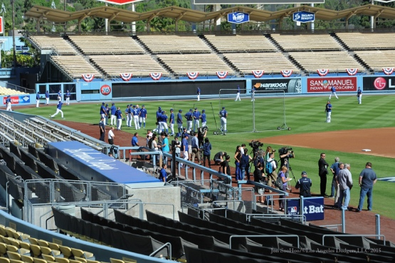 Los Angeles Dodgers workout Thursday, October 8, 2015 at Dodger Stadium in Los Angeles, California.  Photo by Jon SooHoo /©Los Angeles Dodgers,LLC 2015