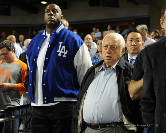 "Earvin ""Magic"" Johnson and Tommy Lasorda--2015 NLDS-Game Four-Los Angeles Dodgers vs New York Mets Tuesday, October 13, 2015 at Citi Field in Flushing, New York.  Photo by Jon SooHoo /©Los Angeles Dodgers,LLC 2015"