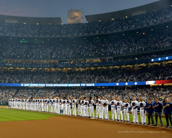 NLDS-Game One-Los Angeles Dodgers vs New York Mets Friday, October 9, 2015 at Dodger Stadium in Los Angeles, California.  Photo by Jon SooHoo /©Los Angeles Dodgers,LLC 2015
