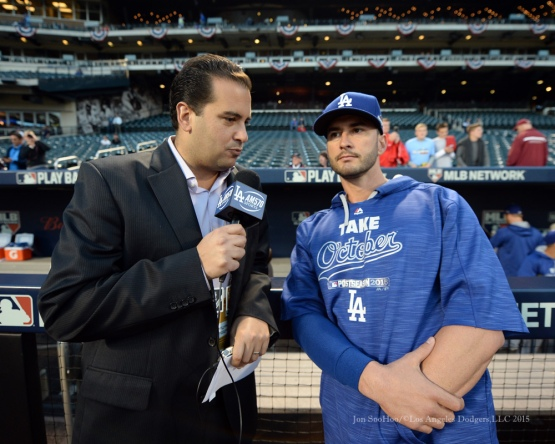 Dave Vassegh and Justin Ruggiano--2015 NLDS-Game Four-Los Angeles Dodgers vs New York Mets Tuesday, October 13, 2015 at Citi Field in Flushing, New York.  Photo by Jon SooHoo /©Los Angeles Dodgers,LLC 2015