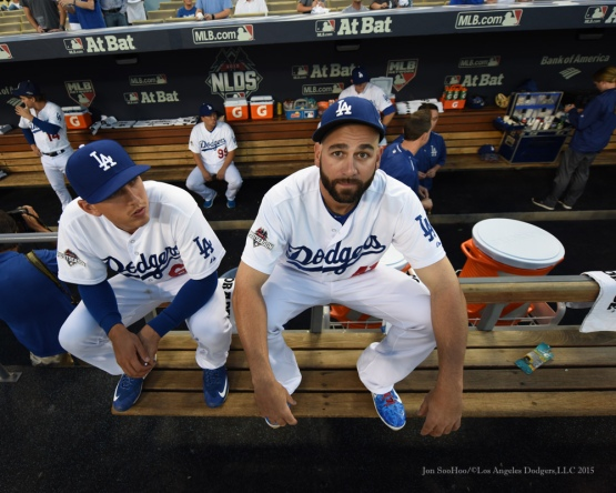 Austin Barnes and Chris Hatcher--NLDS-Game One-Los Angeles Dodgers vs New York Mets Friday, October 9, 2015 at Dodger Stadium in Los Angeles, California.  Photo by Jon SooHoo /©Los Angeles Dodgers,LLC 2015