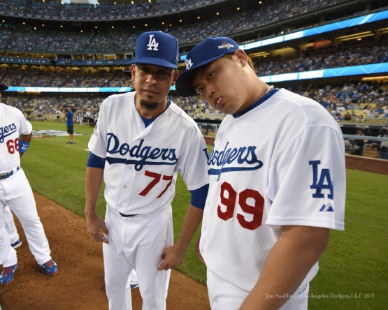 Carlos Frias and Hyun-jin Ryu--NLDS-Game One-Los Angeles Dodgers vs New York Mets Friday, October 9, 2015 at Dodger Stadium in Los Angeles, California.  Photo by Jon SooHoo /©Los Angeles Dodgers,LLC 2015