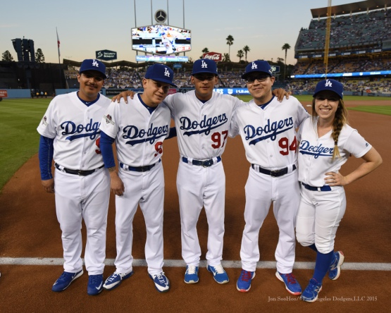 Bat Boys and Girl--NLDS-Game One-Los Angeles Dodgers vs New York Mets Friday, October 9, 2015 at Dodger Stadium in Los Angeles, California.  Photo by Jon SooHoo /©Los Angeles Dodgers,LLC 2015