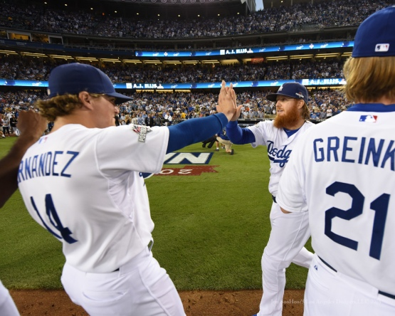 Justin Turner--NLDS-Game One-Los Angeles Dodgers vs New York Mets Friday, October 9, 2015 at Dodger Stadium in Los Angeles, California.  Photo by Jon SooHoo /©Los Angeles Dodgers,LLC 2015