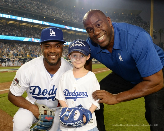 "Jimmy Rollins, Ella Annear and Earvin ""Magic"" Johnson--NLDS-Game One-Los Angeles Dodgers vs New York Mets Friday, October 9, 2015 at Dodger Stadium in Los Angeles, California.  Photo by Jon SooHoo /©Los Angeles Dodgers,LLC 2015"