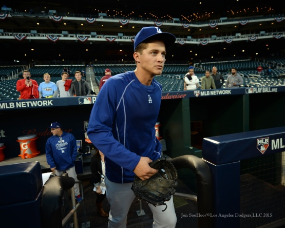 Corey Seager--2015 NLDS-Game Four-Los Angeles Dodgers vs New York Mets Tuesday, October 13, 2015 at Citi Field in Flushing, New York.  Photo by Jon SooHoo /©Los Angeles Dodgers,LLC 2015