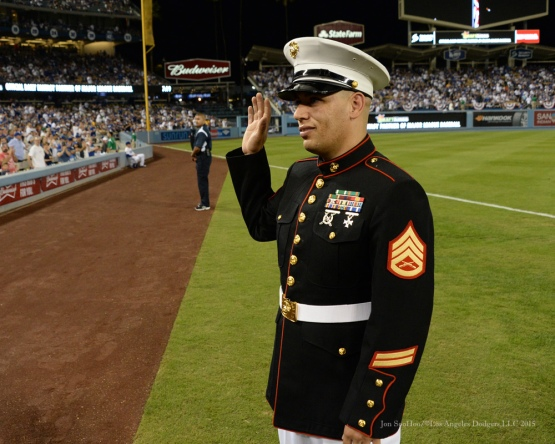 Military Hero of the Game US Marine Corp Staff Sergeant, Victor Mexicano--NLDS-Game One-Los Angeles Dodgers vs New York Mets Friday, October 9, 2015 at Dodger Stadium in Los Angeles, California.  Photo by Jon SooHoo /©Los Angeles Dodgers,LLC 2015