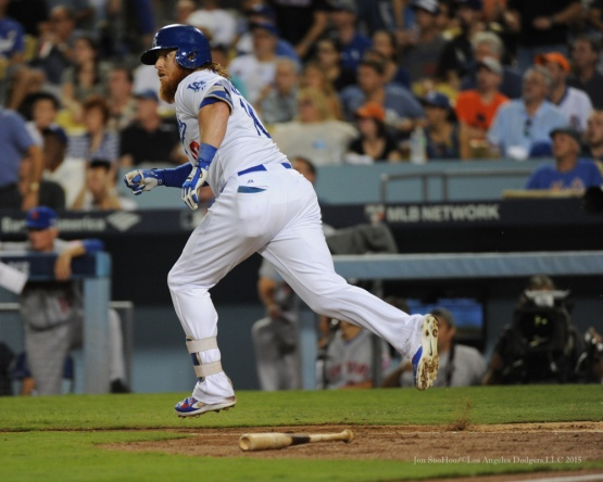 Justin Turner doubles--NLDS-Game One-Los Angeles Dodgers vs New York Mets Friday, October 9, 2015 at Dodger Stadium in Los Angeles, California.  Photo by Jon SooHoo /©Los Angeles Dodgers,LLC 2015