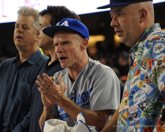 Flea--NLDS-Game One-Los Angeles Dodgers vs New York Mets Friday, October 9, 2015 at Dodger Stadium in Los Angeles, California.  Photo by Jon SooHoo /©Los Angeles Dodgers,LLC 2015