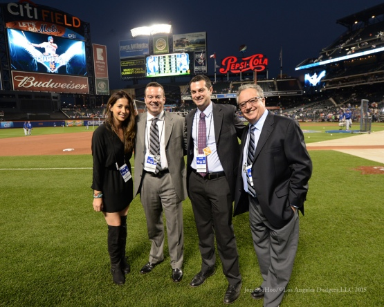 Dodgers PR team at Citi Field--2015 NLDS-Game Four-Los Angeles Dodgers vs New York Mets Tuesday, October 13, 2015 at Citi Field in Flushing, New York.  Photo by Jon SooHoo /©Los Angeles Dodgers,LLC 2015