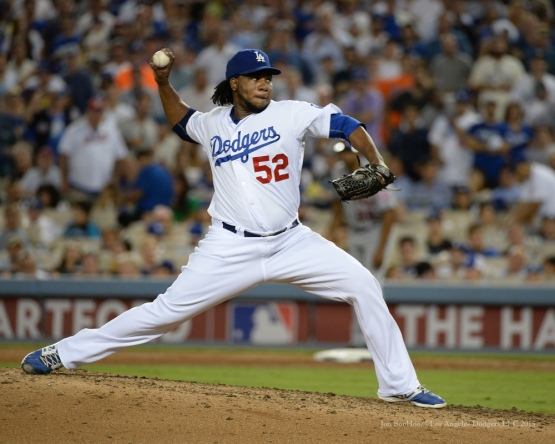 Pedro Baez--NLDS-Game One-Los Angeles Dodgers vs New York Mets Friday, October 9, 2015 at Dodger Stadium in Los Angeles, California.  Photo by Jon SooHoo /©Los Angeles Dodgers,LLC 2015