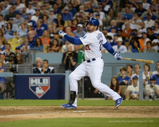 Adrian Gonzalez singles--NLDS-Game One-Los Angeles Dodgers vs New York Mets Friday, October 9, 2015 at Dodger Stadium in Los Angeles, California.  Photo by Jon SooHoo /©Los Angeles Dodgers,LLC 2015