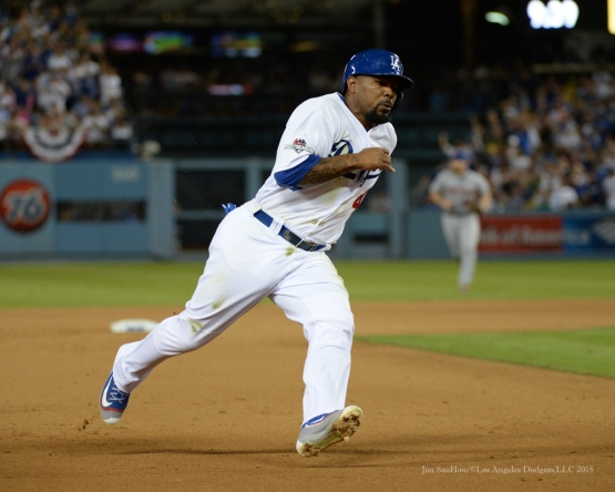 Howie Kendrick scores--NLDS-Game One-Los Angeles Dodgers vs New York Mets Friday, October 9, 2015 at Dodger Stadium in Los Angeles, California.  Photo by Jon SooHoo /©Los Angeles Dodgers,LLC 2015