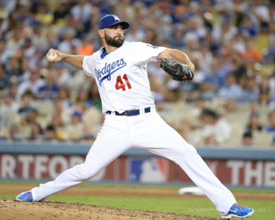 Chris Hatcher--NLDS-Game One-Los Angeles Dodgers vs New York Mets Friday, October 9, 2015 at Dodger Stadium in Los Angeles, California.  Photo by Jon SooHoo /©Los Angeles Dodgers,LLC 2015