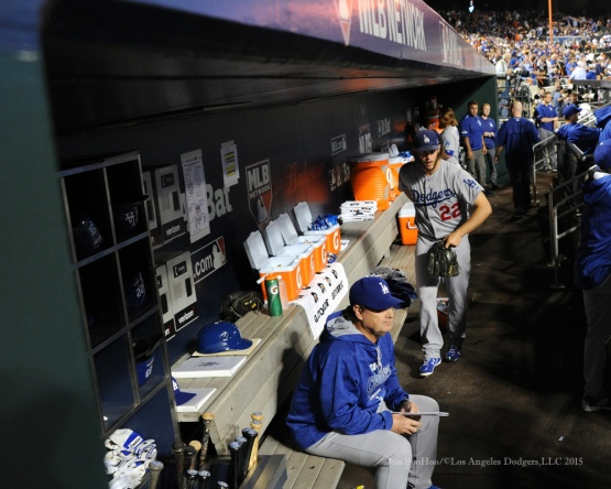Clayton Kershaw takes the field--2015 NLDS-Game Four-Los Angeles Dodgers vs New York Mets Tuesday, October 13, 2015 at Citi Field in Flushing, New York.  Photo by Jon SooHoo /©Los Angeles Dodgers,LLC 2015
