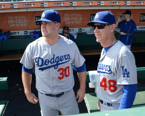 Scott Schebler and Ron Roenicke--Los Angeles Dodgers vs San Francisco Giants Wednesday October 1, 2015 at AT&T Park in San Francisco, California.  Photo by Jon SooHoo /©Los Angeles Dodgers,LLC 2015