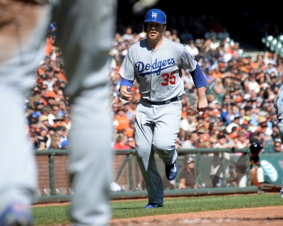 Brett Anderson scores--Los Angeles Dodgers vs San Francisco Giants Wednesday October 1, 2015 at AT&T Park in San Francisco, California.  Photo by Jon SooHoo /©Los Angeles Dodgers,LLC 2015