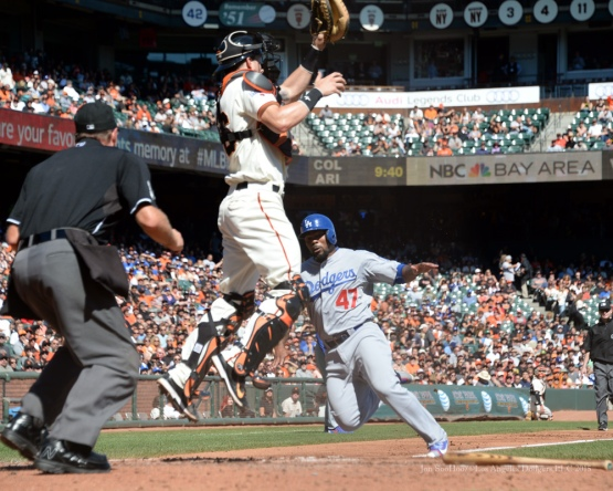 Howie Kendrick scores--Los Angeles Dodgers vs San Francisco Giants Wednesday October 1, 2015 at AT&T Park in San Francisco, California.  Photo by Jon SooHoo /©Los Angeles Dodgers,LLC 2015
