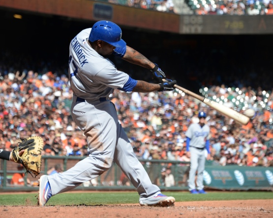 Howie Kendrick hits--Los Angeles Dodgers vs San Francisco Giants Wednesday October 1, 2015 at AT&T Park in San Francisco, California.  Photo by Jon SooHoo /©Los Angeles Dodgers,LLC 2015