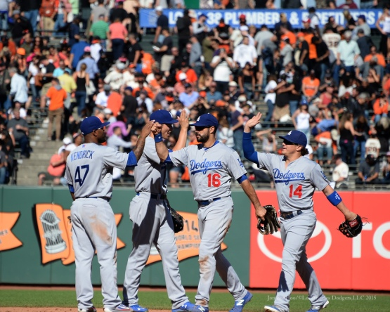 The Los Angeles Dodgers beat the San Francisco Giants 3-2 Wednesday October 1, 2015 at AT&T Park in San Francisco, California.  Photo by Jon SooHoo /©Los Angeles Dodgers,LLC 2015