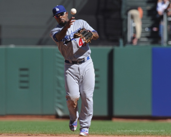 Howie Kendrick--Los Angeles Dodgers vs San Francisco Giants Wednesday October 1, 2015 at AT&T Park in San Francisco, California.  Photo by Jon SooHoo /©Los Angeles Dodgers,LLC 2015