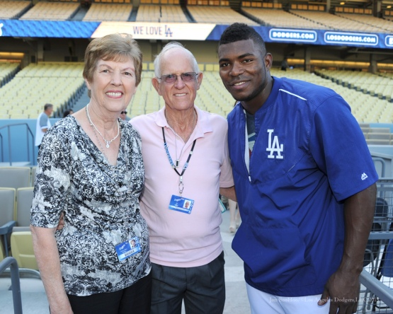 Nancy Be a with husband Bill and Yasiel Puig--Los Angeles Dodgers vs San Diego Padres Saturday, October 3, 2015 at Dodger Stadium in Los Angeles, California.  Photo by Jon SooHoo /©Los Angeles Dodgers,LLC 2015