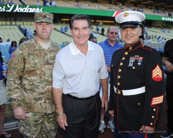 Steve Garvey with Military Heroes Army Sergeant, Shawn Boiko and Marine Corp Sergeant, Paul Roche--Los Angeles Dodgers vs San Diego Padres Saturday, October 3, 2015 at Dodger Stadium in Los Angeles, California.  Photo by Jon SooHoo /©Los Angeles Dodgers,LLC 2015
