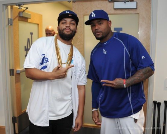 Actor O'Shea Jackson Jr with Carl Crawford--Los Angeles Dodgers vs San Diego Padres Saturday, October 3, 2015 at Dodger Stadium in Los Angeles, California.  Photo by Jon SooHoo /©Los Angeles Dodgers,LLC 2015