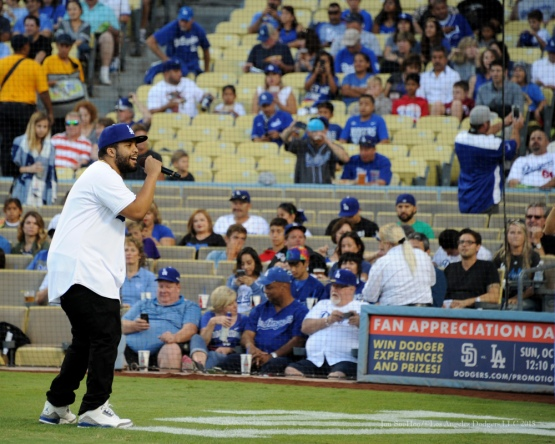O'Shea Jackson Jr--Los Angeles Dodgers vs San Diego Padres Saturday, October 3, 2015 at Dodger Stadium in Los Angeles, California.  Photo by Jon SooHoo /©Los Angeles Dodgers,LLC 2015